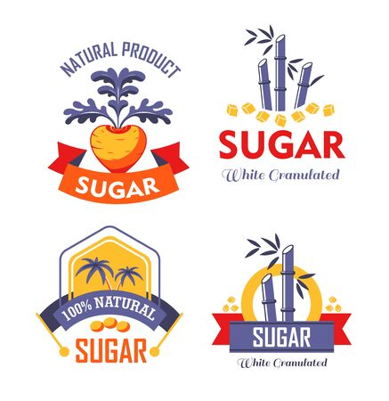 Sugar cane farming and agriculture palm and beetroot or bamboo isolated icons vector plantations natural food vegetable and plant emblems and logo sweetener additive supplement or condiment production.