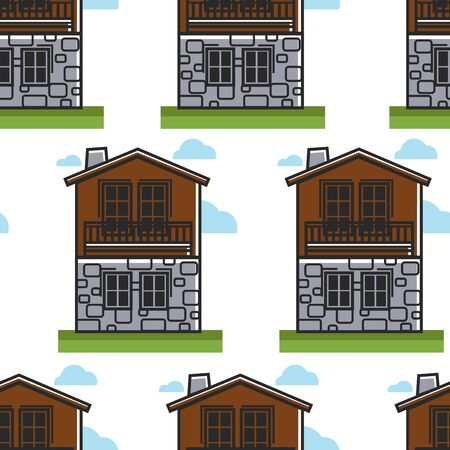 House or dwelling Bulgarian architecture seamless pattern travel to Bulgaria vector wooden and stone walls with chimney and windows endless texture building or two-storey construction wallpaper print. Illustration