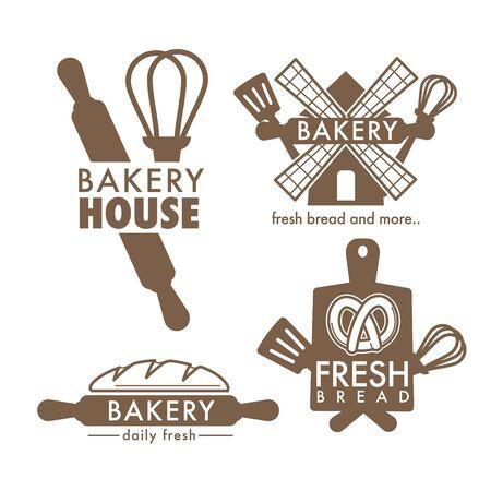 Outils de cuisine et pain frais icônes isolées boulangerie boutique vecteur planche à découper et fouet spatule et rouleau à pâtisserie et bretzel nourriture et pâte de blé emblème d'épicerie ou logo cuisson. Logo