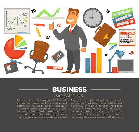 Business and office supplies businessman in suit and graphics Illustration