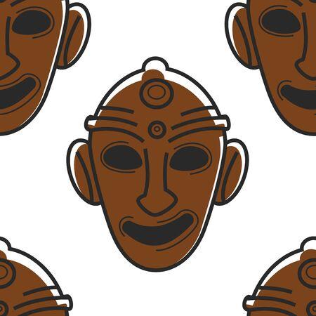 Tunisian mask museum relic or tribal totem seamless pattern Ilustração