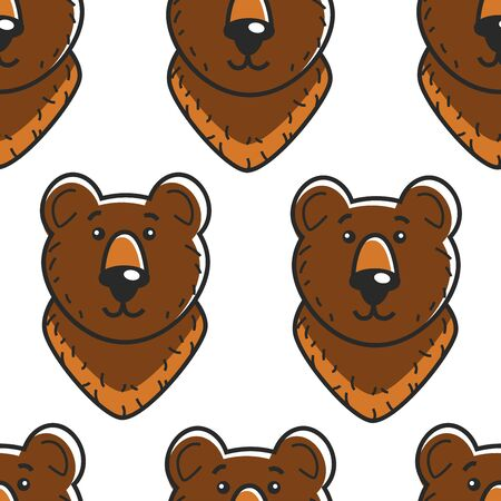 Russian symbol bear seamless pattern forest animal vector wildlife and traveling fauna of Russia predator head or muzzle endless texture wild species tourism and country exploration stereotype. Çizim