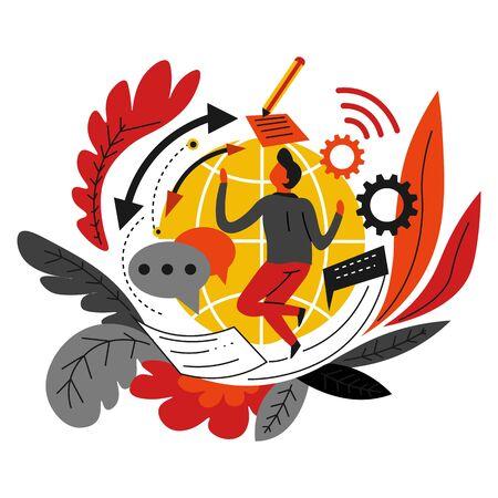 Business and digital marketing online network vector Internet promotion globe symbol cogwheels and marketologist or IT developer message texting and market investigation product web advertisement Ilustração Vetorial