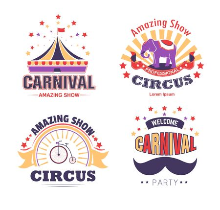 Circus show and carnival party isolated icons tent and elephant
