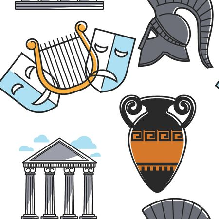 Theatrical masks and gladiator helmet amphora and pillars seamless pattern