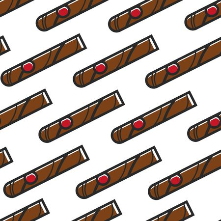 Organic tobacco product Cuban cigar seamless pattern vector smoking and nicotine endless texture vacation and beach resort Cuba symbol island recreation wallpaper print traveling and tourism.