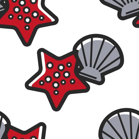 Shellfish and starfish Cuban sea bottom seamless pattern