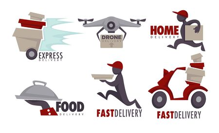 Delivery service food goods and post isolated icons Ilustração
