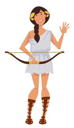 Artemis ancient greek goddess with bow symbol of hunt wilderness and chastity Illustration