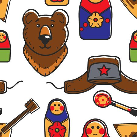 Russian symbols traveling and tourism seamless pattern traditions and culture