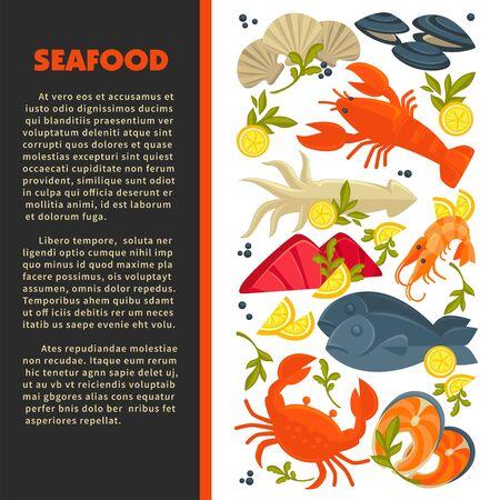 Seafood menu fish and lobster crab and prawn or shrimp