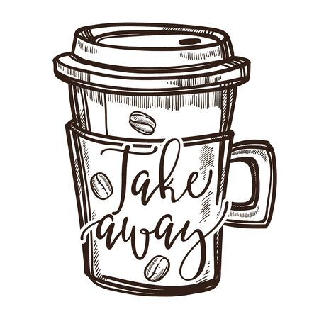 Coffee drink takeaway cup isolated sketch icon