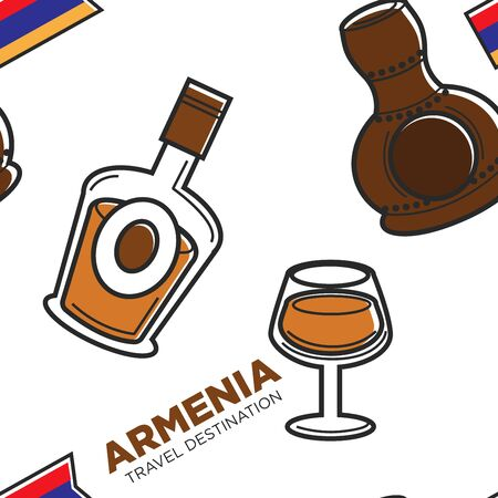 Armenia travel destination alcohol drinks traditional beverage Illustration