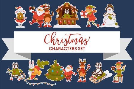 Christmas characters Santa Clause animals and elves snowman