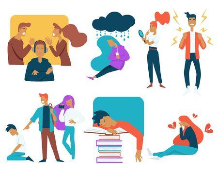 El estrés de los adolescentes y el crecimiento luchan contra los personajes aislados