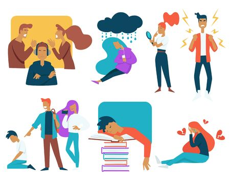 Le stress des adolescents et leur croissance luttent contre des personnages isolés
