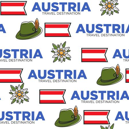 National flag hat and flower Austrian symbols seamless pattern