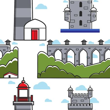 Portugal bridge and brick tower lighthouse seamless pattern