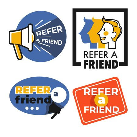 Refer friend isolated icons share information man head and loudspeaker 일러스트