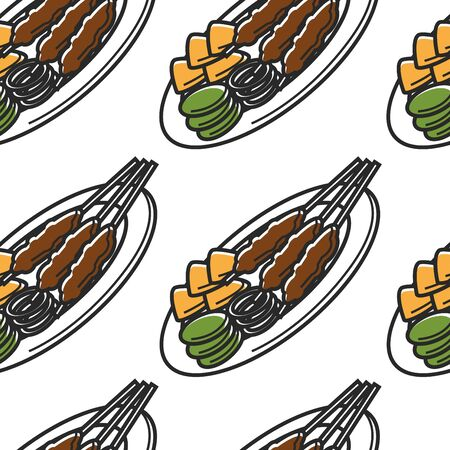 Singapore cuisine seamless pattern satay dish and traveling