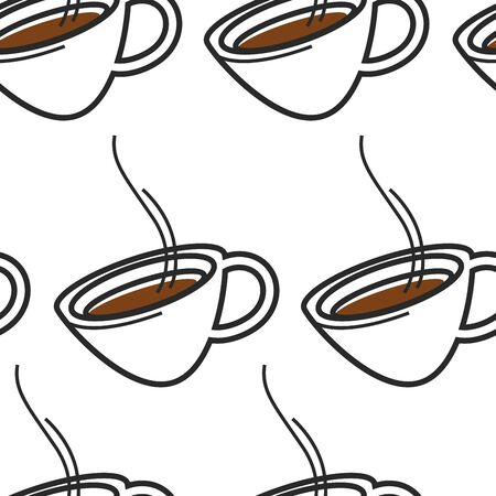 Singapore coffee hot drink or tea in cup seamless pattern