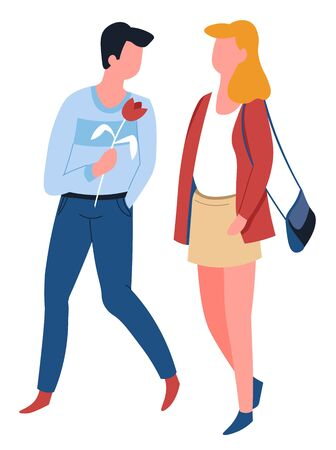 Man and woman couple on date walking love isolated male and female characters vector girl with purse and guy with rose flower boyfriend and girlfriend relationship husband and wife lovers romance. Illustration