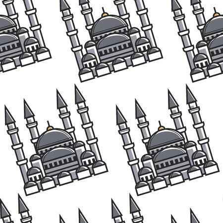 Turkey symbol national architecture mosque seamless pattern