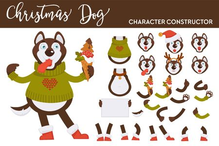 Husky dog constructor knitted sweater and ice cream Ilustrace