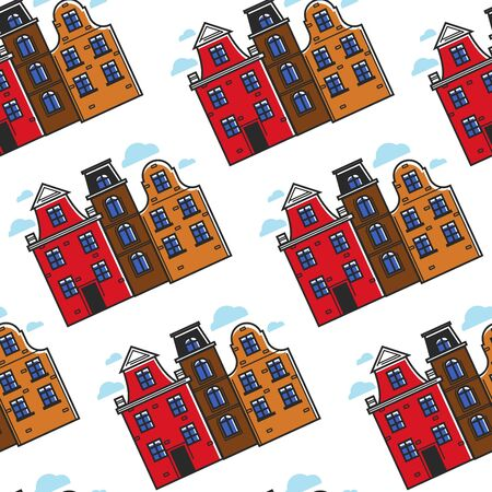 Netherlands town houses seamless pattern urban buildings Çizim