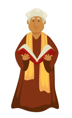 Roman Pope clergyman or priest with bible Christian religion Renaissance symbol vector isolated elderly man in robe with hat and holy book confession pontiff and Vicar of Christ ancient epoch. Ilustrace