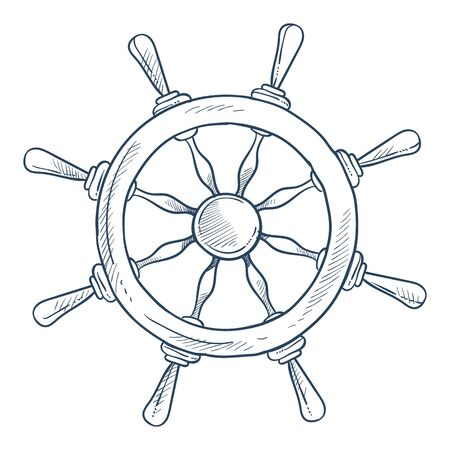 Steering or rudder wheel wooden ship part isolated sketch icon vector marine symbol or nautical element travel or voyage boat or yacht control wooden handle world exploration sea and ocean sailing.