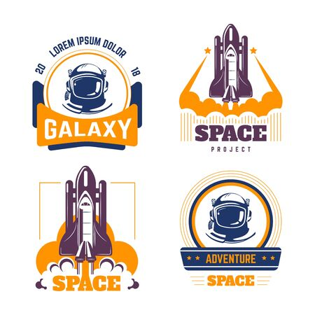 Space exploration spacecraft and pressure suit isolated icons cosmic rocket vector shuttle launch missile astronautic mission cosmos and science starship and rocketship takeoff galaxy and universe.