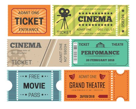 Cinema and theater ticket admission or paper pass vector isolated objects play or movie performance and show entertainment film reel video camera acting masks drama free entrance motion picture.