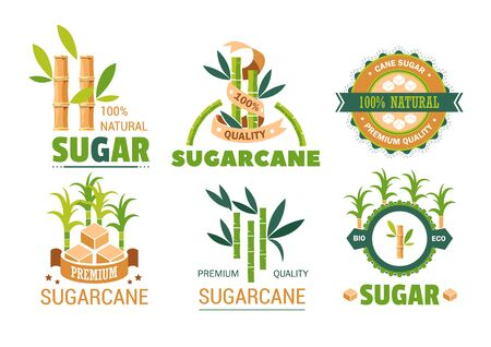 Sweet condiment sugarcane product isolated vector icons plant sugar organic food sweetener in cube shape or sand structure additive or natural supplement from China plantations premium quality.