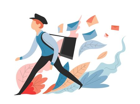 Messages and mail delivery service postman or mailman with bag vector shipping and transportation letters in envelopes distribution correspondence and postage post officer or courier in uniform.