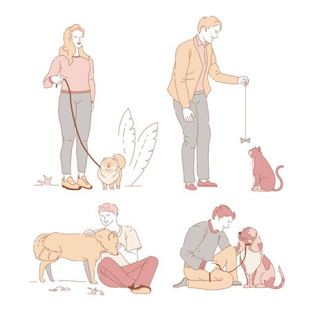 People with pets owners and dogs or cat walking on leash in park Illustration