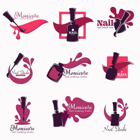 Manicure and nail studio polish or varnish in bottle isolated icons