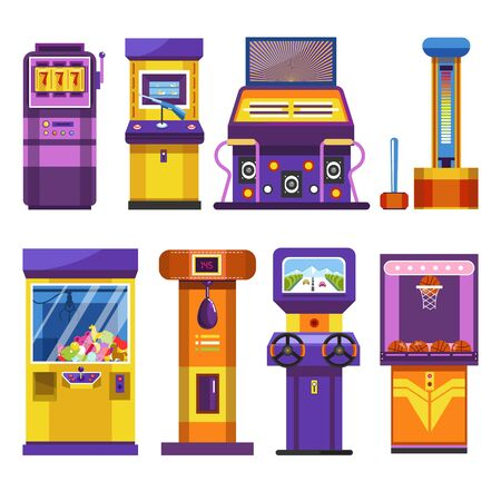 Attraction park devices slot or game machines vector gambling and shooting dancing and force checking soft toys and boxing driving and basketball gun and hammer punching bag wheels and basket.