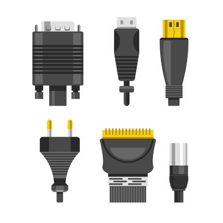 Connection cable and connectors audio or video adapters and plug isolated vector DVI and USB plug electric appliance and technology devices linking metal and rubber wiring connect and electricity.