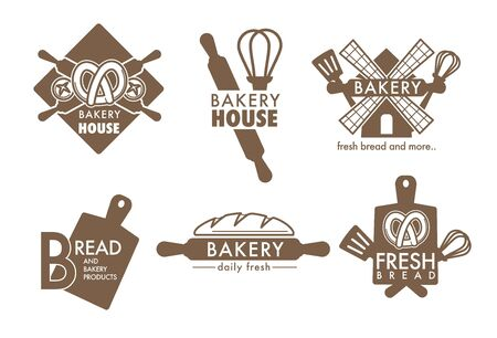 Bakery shop kitchen tools and fresh bread loaf isolated icons vector cutting board and whisk spatula and rolling pin mill and pretzel food and wheat dough products grocery store emblem or logo baking.