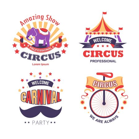 Carnival party and circus show isolated icons vector striped tent and elephant bicycle and mustache fireworks entertainment animals tricks and acrobats equipment stage performance emblem or logo. Logo