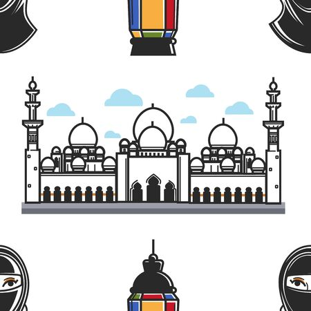 United Arab Emirates national symbols and architecture Dubai vector traveling and tourism Sheikh Zayed Mosque Abu Dhabi landmark and building lantern and woman in hijab heraldry and attraction east.