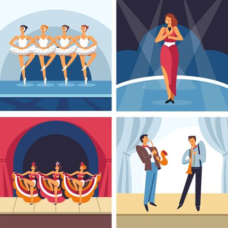 Dancing and singing show or concerts ballet orchestra and cabaret vector ballerinas in tutu and singer dancers and jazz musicians or players classic vocalist stage and curtains musical instruments.