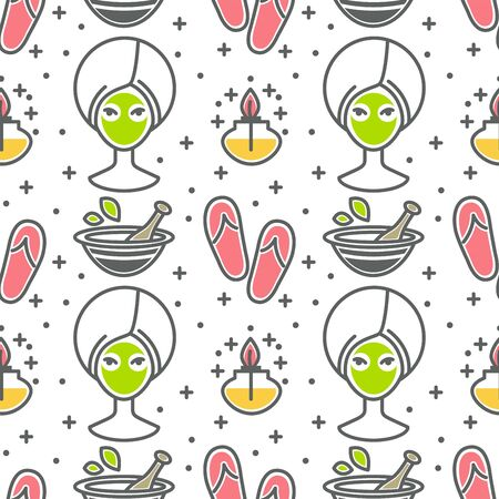 Beauty and spa facial green mask and flip flops seamless pattern