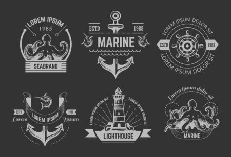 Nautical or marine symbols isolated icons octopus and anchor