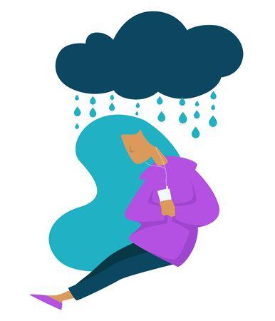 Depression teen stress sad mood girl listening to music