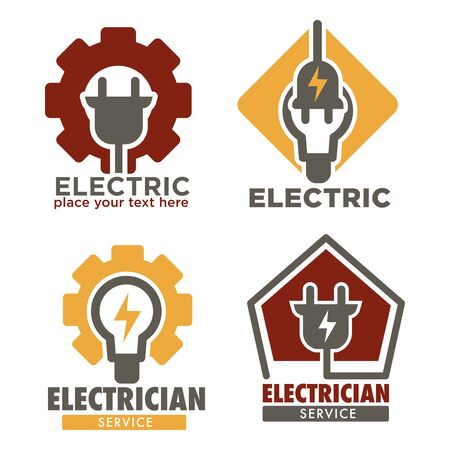 Electrician service isolated icons electricity repair works