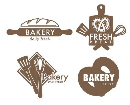 Icônes isolées d'outils de cuisine de magasin de boulangerie de pain et de bretzel