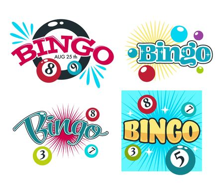 Bingo game gambling equipment balls with numbers isolated icons