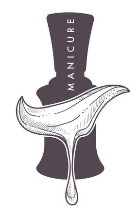 Manicure nail polish or varnish isolated monochrome icon
